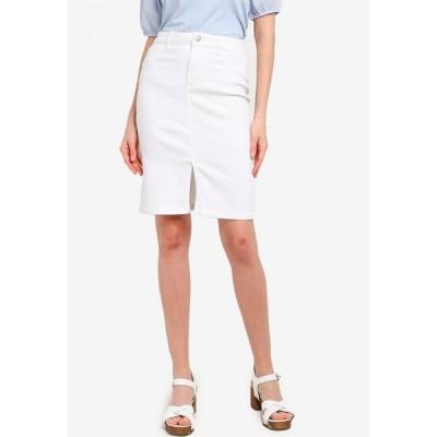 ドロシー パーキンス Dorothy Perkins レディース ひざ丈スカート デニム スカート Petites White Denim Midi Skirt White