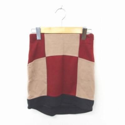【中古】未使用品 ロエン Roen RAT タグ付き スカート タイト ミニ ブロックチェック S 赤 薄茶 レッド ベージュ