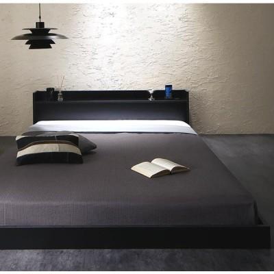 シングルベッド 棚・コンセント・マットレス付き ブラック 黒 フロアベッド ローベッド