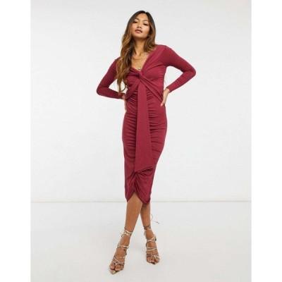 エイソス ミディドレス レディース ASOS DESIGN bardot long sleeve midi dress with sash detail in maroon エイソス ASOS