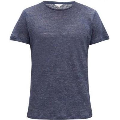 オールバー ブラウン Orlebar Brown メンズ Tシャツ トップス OB-T melange linen T-shirt Navy