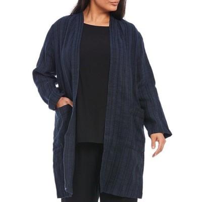 エイリーンフィッシャー レディース ジャケット&ブルゾン アウター Plus Size Textured Organic Linen Stripe Long Open Front Jacket Indigo