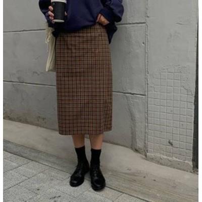 チェック柄 スカート ロング タイト ハイウエスト スリット カジュアル レトロ 韓国 オルチャン ファッション