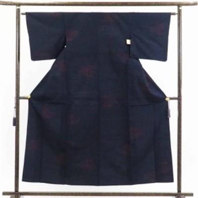 【中古】リサイクル着物 紬 / 正絹紺地単衣真綿紬着物 / レディース【裄Sサイズ】(古着 リサイクル品 紬 )