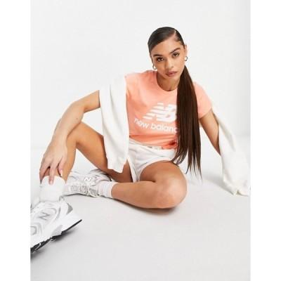 ニューバランス レディース シャツ トップス New Balance large logo t-shirt in pink