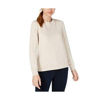 Maison Jules | Knit Lace Pullover Sweatshirt | Heather Oatmeal並行輸入品 送料無料