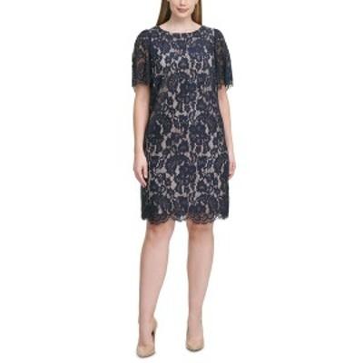 ジェシカハワード レディース ワンピース トップス Plus Size Lace Sheath Dress Navy/Tan