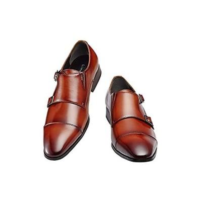 [ライムガーデン] ビジネスシューズ メンズ ダブル モンクストラップ 紳士靴 LG206 (茶,26.0cm)