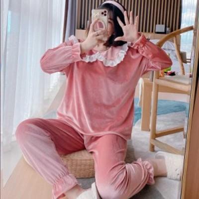 パジャマ レディース ルームウェア 秋冬 フランネル セットアップ 長袖 上下セット 暖かい ナイトロープ 厚手 韓国風 寝巻き 部屋着