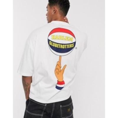 エイソス メンズ シャツ トップス ASOS DESIGN Harlem Globe Trotter oversized t-shirt with back and chest print White