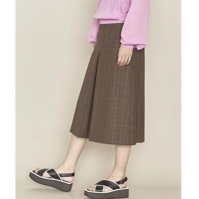 スカート <ASTRAET(アストラット)>チェック ボックスプリーツ フレアスカート