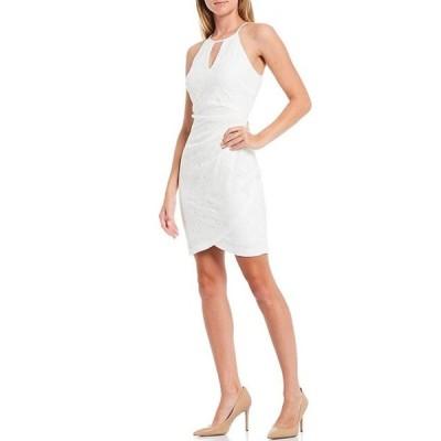ゲス レディース ワンピース トップス Halter Keyhole Neckline Lace Tulip Hem Cotton Blend Sheath Dress