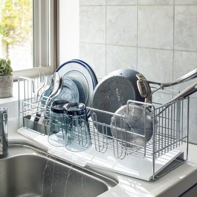 キッチン 家電 キッチン収納 水切り 水切りかご ラック オールステンレス製シンクに渡せる水切り フッ素加工トレー付きスリムロングハイタイプ 542102
