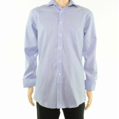ファッション ドレス Tasso Elba Mens Dress Shirt Blue Brown Size XL One-Pocket Pinstriped