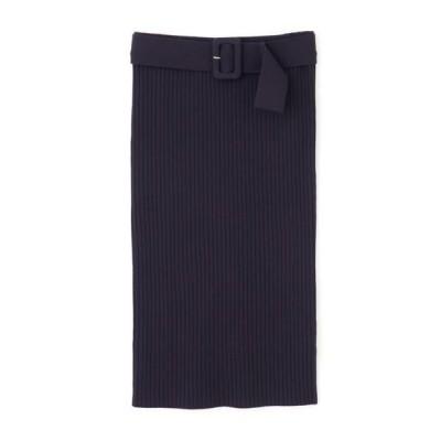 PINKY & DIANNE/ピンキーアンドダイアン ベルト付きセットアップRIBニットスカート ネイビー 38