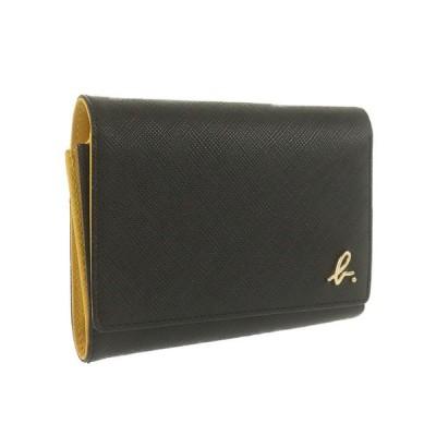 アニエスベー agnes b. 三つ折り財布 コンパクトウォレット ブラック イエロー  レザー 中古A 256595
