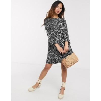 エイソス レディース ワンピース トップス ASOS DESIGN long sleeve smock mini dress in mono leopard