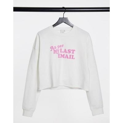 スキニーディップ Skinnydip レディース ベアトップ・チューブトップ・クロップド ニット・セーター Skinny Dip slogan cropped sweater in white ホワイト
