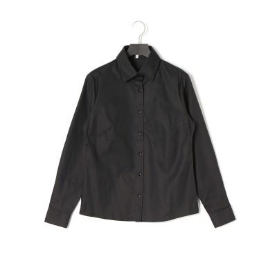 ヘリンボーン 長袖シャツ ブラック 0