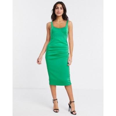 エイソス レディース ワンピース トップス ASOS DESIGN sleeveless square neck midi dress with corsetry detail in green