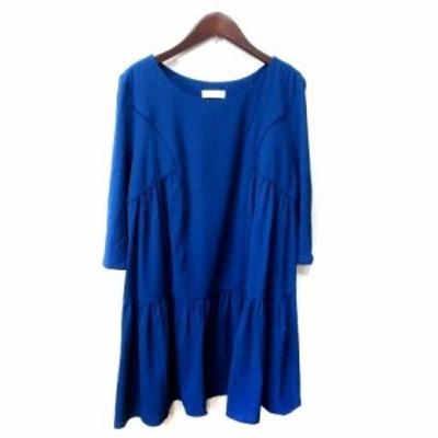 【中古】バッシュ ba&sh ひざ丈ワンピース 七分袖 0 青 ブルー /YI レディース