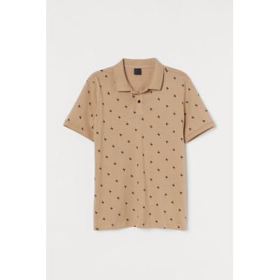 H&M - スリムフィット ポロシャツ - ベージュ