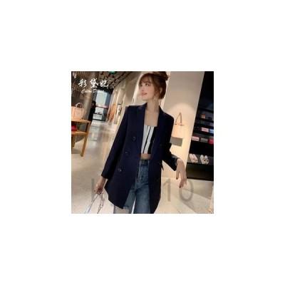 ブレザーレディーステーラードジャケット無地アウターコート女性制服通勤体型カバー韓国風可愛いオシャレカジュアル2019新作