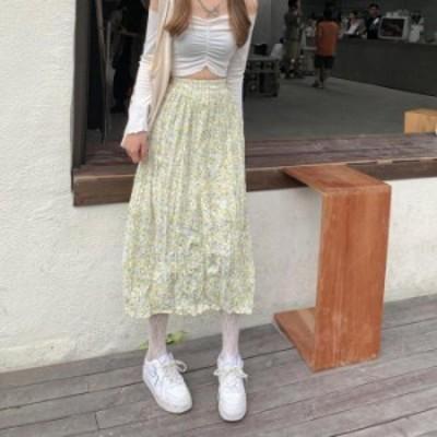 【2021春夏】【2カラー F】春夏のコーデに可愛らしさとアクセントをプラスしてくれる花柄プリーツスカート♪ プリーツスカート ロング丈