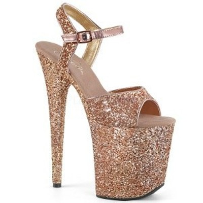 サンダル プラットフォーム(厚底) 8インチ(約20cm)台 PLEASER Rose Gold Glitter/Rose Gold Glitter グリッター 厚底サンダル お取り寄せ