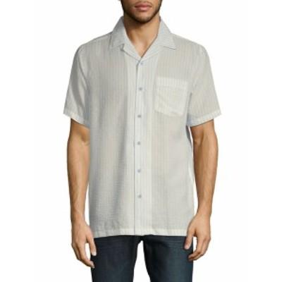 サックスフィフスアベニュー メンズ カジュアル ボタンダウンシャツ Stripe Short-Sleeve Camp Button-Do