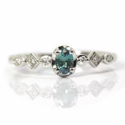 K18WG アレキサンドライト リング 0.17ct ダイヤモンド 0.04ct 9号 18金 ホワイトゴールド 指輪 14029