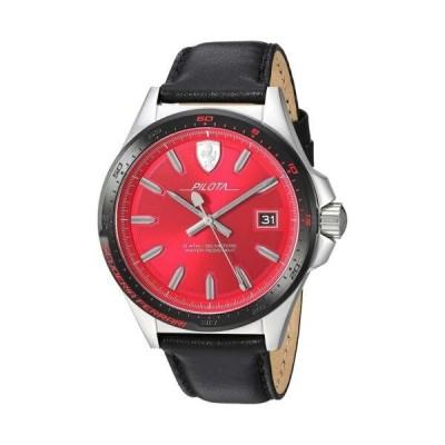 おしゃれ 個性的 高品質 腕時計 フェラーリ Ferrari 830489 Pilota Red Dial Leather 45mm 0830489