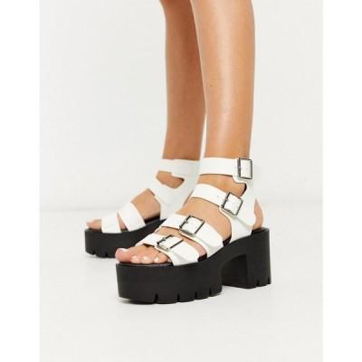トリュフコレクション Truffle Collection レディース サンダル・ミュール シューズ・靴 buckle platform heeled sandals in white ホワイト