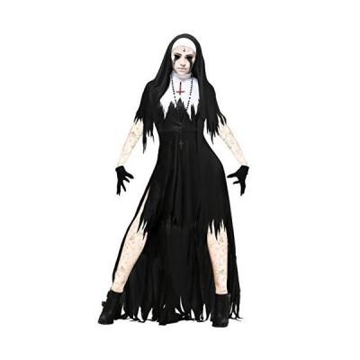 Women's Dreadful Nun Costume Large Black,White[並行輸入品]