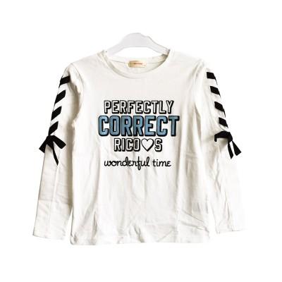 【子供服SHUSHU】袖リボンロングTシャツRiCO SUCREリコシュクレ (Tシャツ・カットソー)Kids' T-shirts