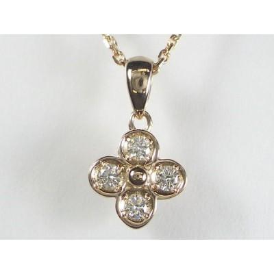 K18PG ピンクゴールドダイヤモンド フラワー ペンダント ネックレス