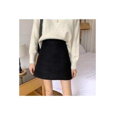 【送料無料】黒の半身裙スカート 秋冬 女 韓国風 レトロ ハイウエスト 何で | 364331_A64117-0954814