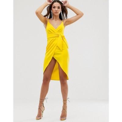 エイソス ASOS DESIGN レディース ワンピース ワンピース・ドレス strappy cami wrap midi dress with sash detail Yellow