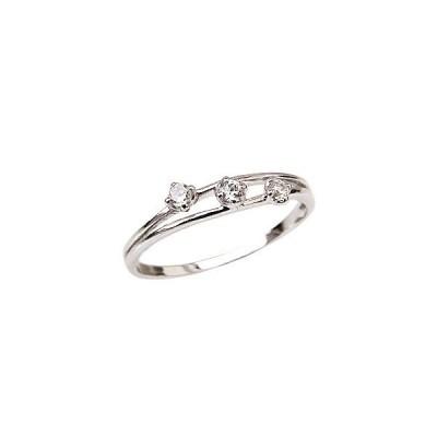スリーストーンリング ダイヤモンド 0.10ct リング ホワイトゴールド 指輪 K18 カジュアル