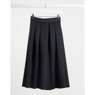 エイソス レディース スカート ボトムス ASOS DESIGN scuba midi prom skirt in black Black