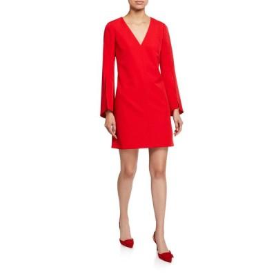 ミリー レディース ワンピース トップス Nicolette V-Neck Slit-Sleeve Sustainable Cady Dress