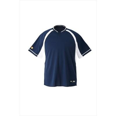 【1点までメール便対応】 [DESCENTE]デサント野球 ジュニアベースボールシャツ (JDB103B)(NVSW) ネイビー×Sホワイト