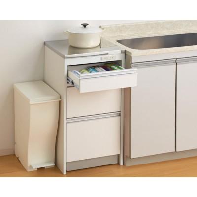 収納物を考えたキッチンカウンター ロータイプ(高さ85cm) 幅44.5cm ホワイト