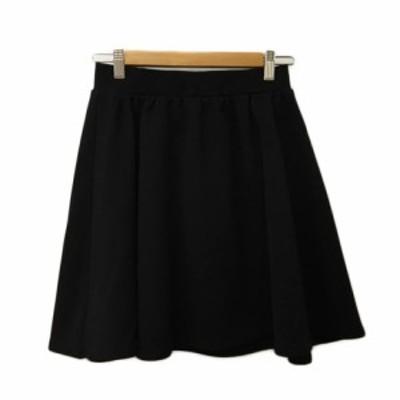 【中古】イエナ スローブ IENA SLOBE スカート フレア ミニ 無地 ウエストゴム 黒 ブラック レディース