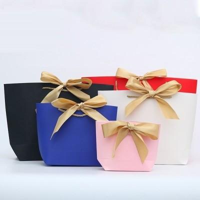 紙袋 ギフトバッグ リボン かわいい おしゃれ 無地 贈り物 プレゼント 誕生日 クリスマス バレンタインデー ホワイトデー