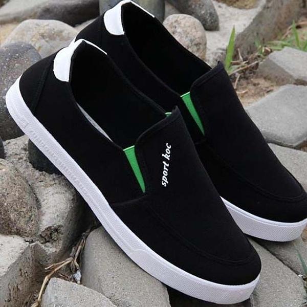 懶人鞋 夏季男士帆布鞋透氣板鞋工作鞋子老北京布鞋男休閒鞋一腳蹬懶人鞋
