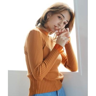 【ケティ】 リブハイネック透かし柄プルオーバー レディース オレンジ M ketty