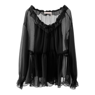 SEE BY CHLOE/シーバイクロエ レースシャツ BLACK See by chloe oversized ruffled blouse レディース 春夏2020 CHS20UHT18025 ik