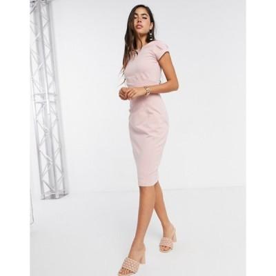 クローゼットロンドン レディース ワンピース トップス Closet London cap sleeve pencil dress in dusty rose