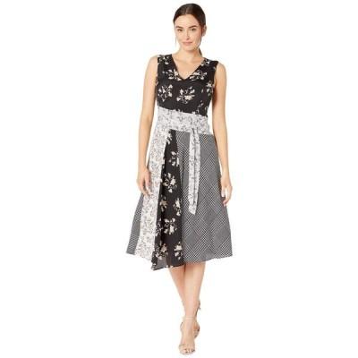 カルバンクライン Calvin Klein レディース ワンピース Vネック ワンピース・ドレス V-Neck Dress with Tie Belt Multi Combo